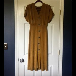 Ribbed Mustard Button-Front Dress